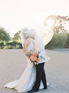 Sunstone Winery Wedding Bouquet by Inviting Occasion, peonies, garden roses, coral, blush Photography: Jen Huang Photography Wedding Photography Inspiration, Wedding Inspiration, Wedding Pictures, Wedding Bells, Color Pop, Veil, Dream Wedding, Peonies Garden, Garden Roses