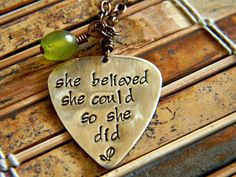 Graduation, encouragement, believe necklace on Etsy, $28.00