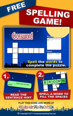 At www.VocabularySpellingCity, students   solve a traditional crossword puzzle that uses contextual sentences as the clues for each word as they play the game Crossword. Crossword can help students remember and understand their new list of spelling words.