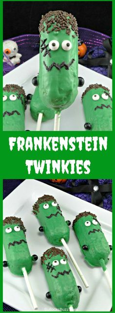 Get creative with your Frankenstein Halloween treats and make these Frankenstein Twinkie Pops! They're so simple and kids love them! manualidades infantil Frankenstein Halloween Treats – Easy Halloween Treats for Kids Table Halloween, Dessert Halloween, Halloween Treats For Kids, Halloween Baking, Halloween Party Supplies, Fete Halloween, Halloween Goodies, Halloween Birthday, Holiday Treats