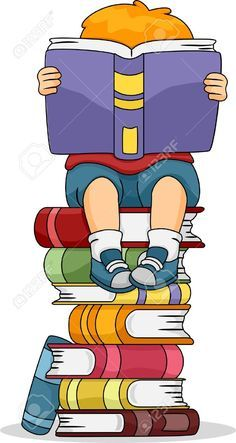 Little Kid Girl Reading a Book Sitting on Pile of Books Clip Art School Murals, Kids Library, School Clipart, Borders For Paper, School Decorations, Girl Reading, Reading Comprehension, Back To School, Books To Read