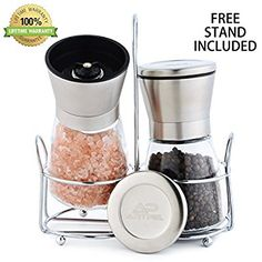 Manual Cordless Salt & Pepper Grinders Set With Matching Stand- Glass Body & Stainless Steel Top Shakers- Adjustable Ceramic Grinding Mechanism- Easy To Refill Mills- Cool, Modern, Great Gift