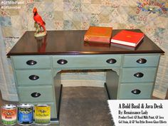 Renaissance Lady, https://www.facebook.com/Renaissance2Lady, transformed this desk with GF Basil Green Milk Paint, Van Dyke Brown Glaze and Java Gel Stain.  Great color combo!   Like the glazed look?  Get some expert tips from GF's video, http://bit.ly/1sNFzHJ  #generalfinishes #gfmilkpaint #gfglazeeffects #javagel