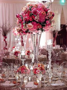 Wondering which wedding reception decoration supplies to buy? There are themed selections of reception decoration supplies in local stores and online retail Pink Centerpieces, Wedding Table Centerpieces, Reception Decorations, Event Decor, Centerpiece Ideas, Tall Centerpiece, Carnation Centerpieces, Chandelier Centerpiece, Wedding Vases