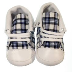 Fashionable pre-walker sneaker for boys. Chequered black, white and blue design with white laces. Sneakers are versatile allowing you to create two distinct looks- you can keep them ankle high and lace all the way to the top or fold down the tops and only lace up ½ way making them a low rise sneaker. Sneakers have a non-slip sole and are lightweight and easy to wear.  Price: $29.95  http://www.bubbaboosh.com.au/boys-shoes/Luca