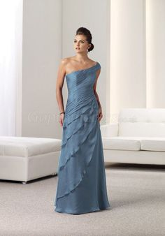 A-line Asymmetric ruffles blue Chiffon Mother of the Bride Dress picture 1