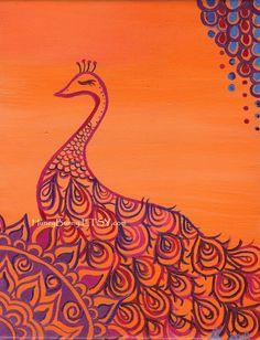 Orange PEACOCK ART Print. 5x7 Print of an Original Oil on Canvas Painting. Whimsical Artwork of Allie Kelley