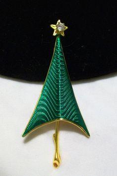 CERRITO Vintage 1960s Christmas Tree Enamel Rhinestone MODERNIST Brooch pin