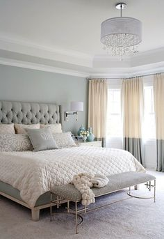 gray, white, and tan bedroom. Great two tone curtains and upholstered headboard! Love the softness of the neutral colors gray, white, and tan bedroom. Great two tone curtains and upholstered… Beautiful Bedroom Colors, Bedroom Makeover, Bedroom Decor, Bedroom Color Schemes, Beautiful Bedrooms, Tan Bedroom, Bedroom Inspirations, Feminine Bedroom, Home Bedroom