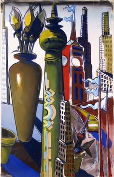 K.H. Kahne, Vase,-TVTower, S-Bahn, 150x95cm, 04.06.1998