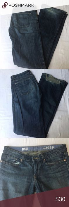 """Gap Curvy 1969 Jeans 28/6L Gap Curvy 1969 jeans in 6L- medium wash color - rivet detailing. Light whiskering- bottom of jeans in back have definite wear- since these are Long- it's possible to have the hem taken up and then they'd be like new. Waist is 16"""" - length as is 34.5"""" and wear goes approx 3"""" up- so if 31"""" is your desired length these would be perfect and only require a slight alteration! ✅I ship same or next day ✅Bundle for discount GAP Jeans"""