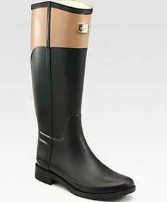 Hunter Cece Two-Tone Rainboots - Black-Brown  Planning on getting these.. I love them.. omg.
