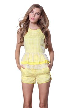 Yellow Sleeveless Plaid Cascading Ruffle Top With Shorts