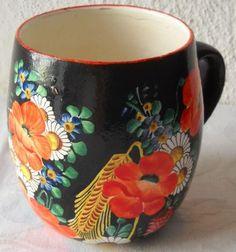 Chodská keramika, ruční malba,Džbánek, K.Kuneš Klenčí