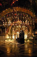 The Church of the Holy Sepulchre, venerated by Christians as the site of the Crucifixion of Jesus.[