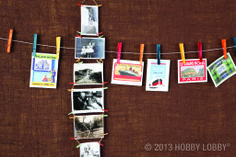 Too many pictures, too few frames? Try clipping your photos and favorite mementos to twine, clothesline style.