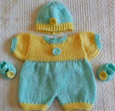 Knitting pattern- Springtime romper set for doll or tiny baby  £2.00