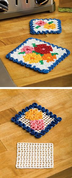 May Flowers potholder & coaster, free pattern from Coats & Clark. Nice little project to learn the wiggle stitch. #crochet