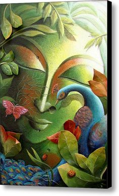 Art Indian Art Art By Nature Nature Art The Tree Of Life Contemporary Art Asian Art Art For Nature Fine Art Green Leaf Tree Flowers Paintings Butterfly Paintings Forest Birds Lady Bugs Painting - The Tree Of Life Series by Dhananjay Mukherjee Tree Of Life Painting, Buddha Painting, Krishna Painting, Krishna Art, Mural Painting, Buddha Artwork, Indian Art Paintings, Canvas Art, Canvas Prints