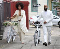 Solange Knowles rocks a pre-wedding off white jumpsuit