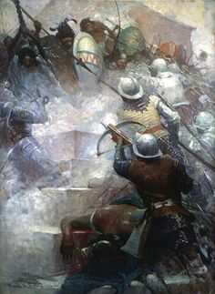 """Frank E. Schoonover - In Fierce Rushes the Spaniards Advanced1917 Oil on canvas, 36 inches x 27 inches  """"With Cortez the Conqueror,"""" Virginia Watson, NY: The Penn Publishing Co, 1917, facing p. 254 - Kelly Collection American Illustration Art"""