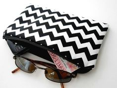 Large Black Chevron Zipper Pouch Cosmetic Bag ECO Friendly Padded  by JPATPURSES, $14.00
