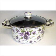 Enamel 5.5 Quarter Stockpot Purple Flowers