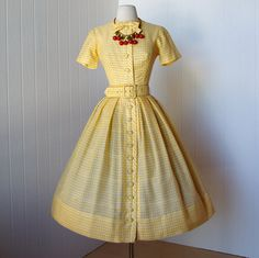 vintage 1950's yellow gingham shirtwaist dress quintessential GIGI YOUNG new york