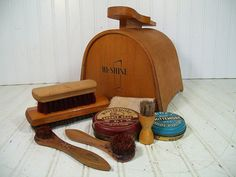 Retro Wooden Shoe Shine Kit Set  Vintage HiShine by DivineOrders, $44.00