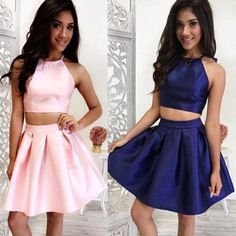 Glamorous Jewel Sleeveless Short Two-piece Pink/Dark Blue  Homecoming Dress,Sweetheart prom dress,