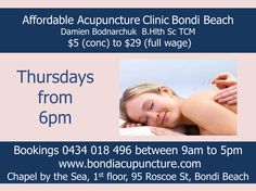 Acupuncture - Affordable - Bondi Beach - from $5 (conc) to $29 - Thursdays from 6pm Chapel by the Sea, Bondi Beach