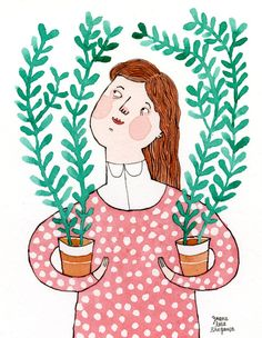 A girl who loves gardening holds her Ficus buxifolia twins in her hands!    This illustration is part of a series about plants and their caring