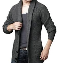 YUNY Men Woven Marled Cable Stand Collar Thick Pullovers Sweater Light Grey L