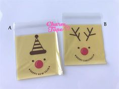 Festive Rudolph reindeer Gift Bags Cello Bags Self-adhesive Cookie bags - Favors Bags - Party bags 20/50/100 bags CB53