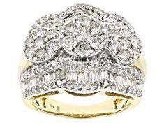 White Diamond 10k Yellow Gold Ring 2.00ctw - RGD022   JTV.com Affordable Diamond Rings, Diamond Rings For Sale, Beautiful Diamond Rings, White Diamond Ring, Diamond Gemstone, Yellow Gold Rings, Diamond Jewelry, Diamond Earrings, Big Wedding Rings
