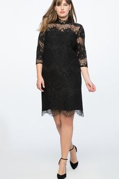 Black Lace Plus Size Little Black Dress - A great way to wear lace and not feel antiquated; this sleek dress does the trick. Pullover Non-stretch woven fabric Button and bungee closure A5 #PlusSizeDresses #getthelook #PlusSize #PlusSizeFashion #PlusSizeStyle #CurvyGirl #boldcurvyfashionista #curvesarein #curvesfordays #curvy #curvyfashionista #Fashion #Style #PlusSizeDresses