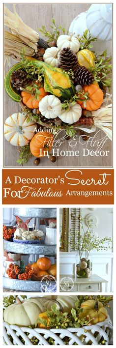 ADDING FILLER AND FLUFF IN HOME DECOR- decorator's secret for creating full and beautiful centerpieces, vignettes and arrangements-stonegableblog.com