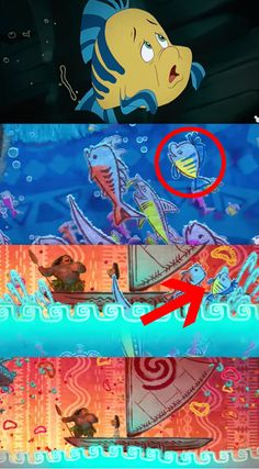 """Like this ~artsy~ Flounder cameo in Moana. 