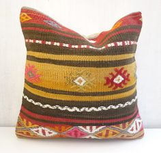 Turkish Kilim pillow Cover Decorative Ethnic by SophiesBazaar, $46.00