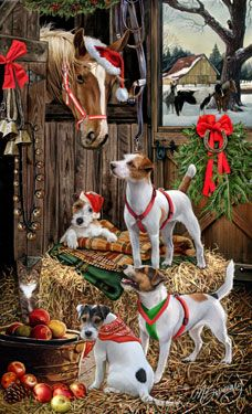 """New for 2013!Quantities Limited! Paeson Russell Terrier Christmas Holiday Cards are 8 1/2"""" x 5 1/2"""" and come in packages of 12 cards. One design per package. All designs include envelopes, your personal message, and choice of greeting.Select the inside greeting of your choice from the menu below.Add your custom personal message to the Comments box during checkout."""