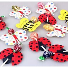 25pcs Cute Insect Bees Ladybug Butterfly Lollipop Decoration Card Birthday Party & Wedding Decor & Candy Gift For Kids