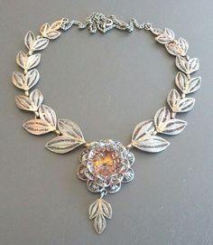 Sterling Silver 925 Vintage Necklace Pendant Spring Flower Rose Filigree 1159