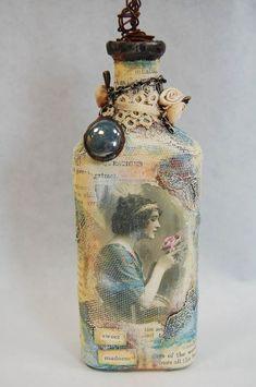 Decorative Bottles : 55 ideas of decoupage on the glass and Wine Bottle Art, Diy Bottle, Wine Bottle Crafts, Jar Crafts, Potion Bottle, Altered Bottles, Vintage Bottles, Bottles And Jars, Glass Bottles