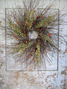 Twig, Pennycress, Orange Berry & Pod Fall Wreath