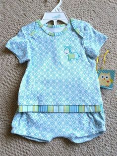 New happi by Dena Blue White Geometric Pattern Stripe Horse Baby Boy Outfit 6-9M #happibyDena #Everyday
