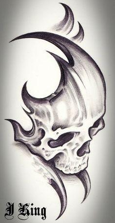 Skull Tattoo Design Tattoo Alien Old School Dark Art Drawings, Tattoo Design Drawings, Skull Tattoo Design, Pencil Art Drawings, Skull Tattoos, Art Drawings Sketches, Cool Drawings, Tattoo Designs, Tribal Drawings