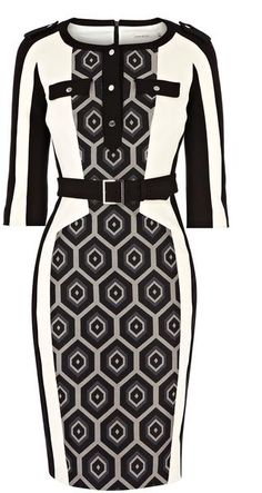 KAREN MILLEN ENGLAND Fabric Mixing Collection Dress......I would wear this! It's different....