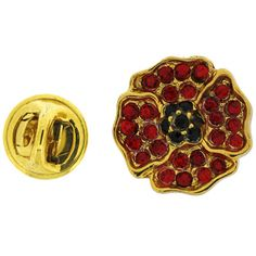 Brooches Store Gold Plated and Red Swarovski Crystal Poppy Badge Brooch ** Read more at the image link. Poppy Badges, Remembrance Poppy, Royal British Legion, Metal Spring, Small Flowers, Pin Badges, Poppies, Swarovski Crystals, Detail