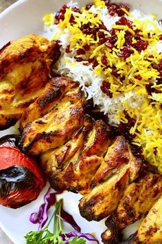 Persian Cornish hen — lightly blackened, moist, with saffron and garlic