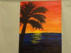 Acrylic Palm Tree painting on canvas board 5x7 by MosaicsandArt, $22.00